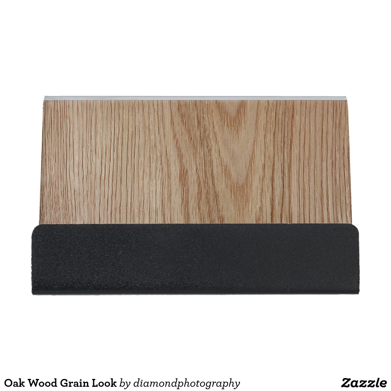 oak wood grain look desk business card holder