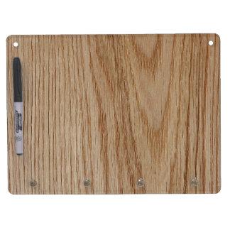 Oak Wood Grain Look Dry Erase Board With Keychain Holder