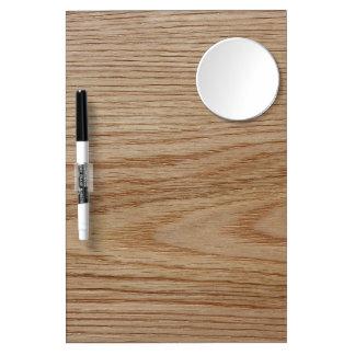 Oak Wood Grain Look Dry Erase Board With Mirror