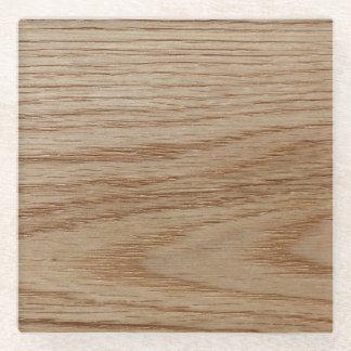 Oak Wood Grain Look Glass Coaster