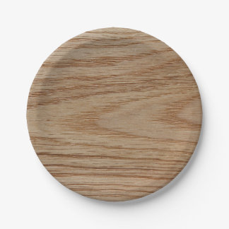 Oak Wood Grain Look Paper Plate