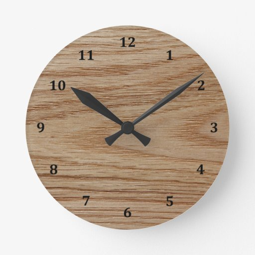 Oak Wood Grain Look Round Clocks Zazzle