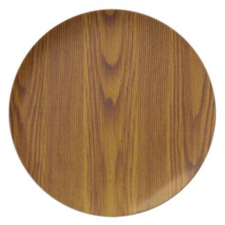 oak woodgrain melamine plate