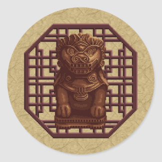 Oaken Lion Dog Pixel Art Classic Round Sticker