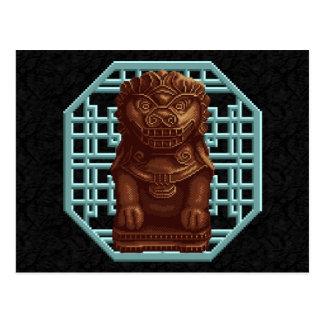 Oaken Lion Dog Pixel Art Postcard