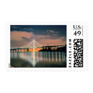 Oakland Bay Bridge at night Postage
