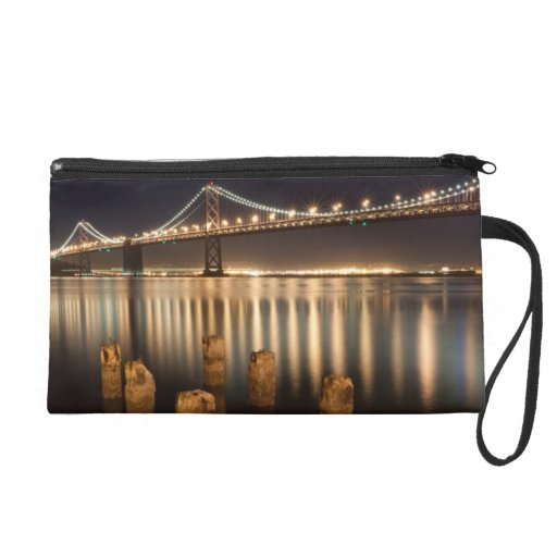 Oakland Bay Bridge night reflections. Wristlet Clutches