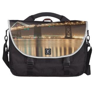 Oakland Bay Bridge night reflections. Bag For Laptop