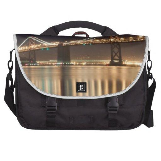 Oakland Bay Bridge night reflections. Laptop Messenger Bag