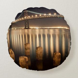 Oakland Bay Bridge night reflections. Round Pillow