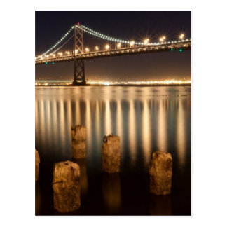 Oakland Bay Bridge night reflections. Postcard