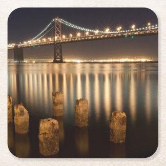 Oakland Bay Bridge night reflections. Square Paper Coaster