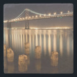 "Oakland Bay Bridge night reflections. Stone Coaster<br><div class=""desc"">Bay bridge reflections</div>"
