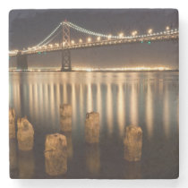 Oakland Bay Bridge night reflections. Stone Coaster
