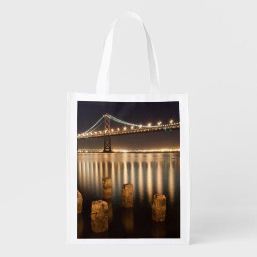 Oakland Bay Bridge night reflections. Reusable Grocery Bags