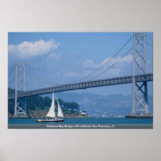 Oakland Bay Bridge with sailboat, San Francisco, C Print
