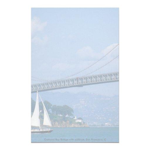 Oakland Bay Bridge with sailboat, San Francisco, C Stationery