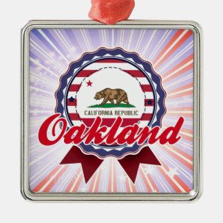 Oakland, CA Adorno Cuadrado Plateado