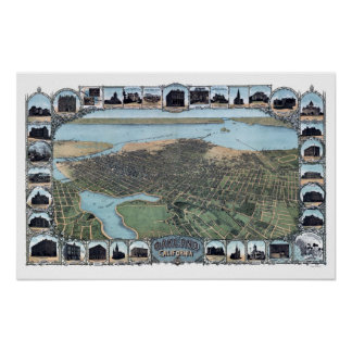 Oakland CA Panoramic Map DIGITALLY REMASTERED Poster