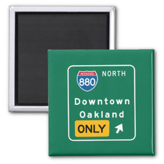 Oakland, CA Road Sign 2 Inch Square Magnet