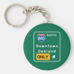 Oakland, CA Road Sign Basic Round Button Keychain