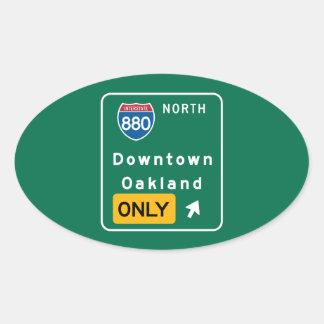 Oakland, CA Road Sign Oval Sticker
