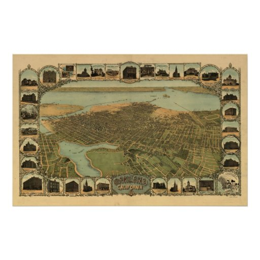 Oakland California 1900 Antique Panoramic Map Poster
