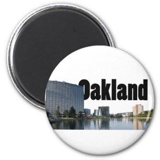 Oakland California con Oakland en el cielo Imán Redondo 5 Cm