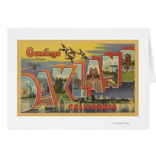 Oakland, California - Large Letter Scenes Greeting Card
