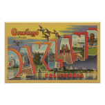Oakland, California - Large Letter Scenes Poster