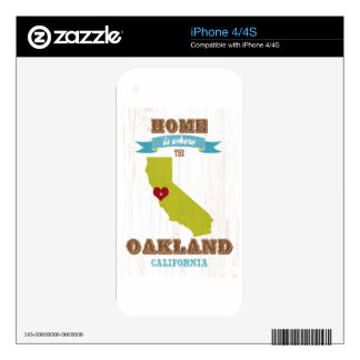 Oakland, California Map – Home Is Where The Heart Skins For The iPhone 4S