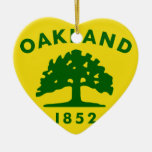 Oakland, California, United States flag Double-Sided Heart Ceramic Christmas Ornament
