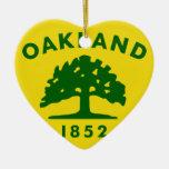 Oakland, California, United States flag Double-Sided Heart Ceramic Christmas Ornament