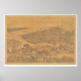 Oakland, mapa panorámico 1881 (1231A) del CA Póster