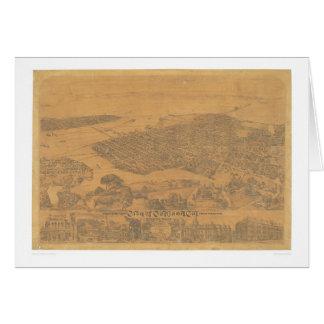Oakland, mapa panorámico 1881 (1231A) del CA Felicitaciones