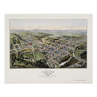 Oakland, MD Panoramic Map - 1906 Poster