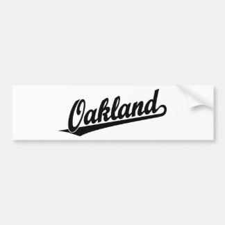 Oakland script logo in black bumper sticker