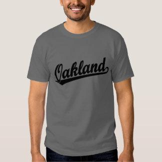Oakland script logo in black t shirt