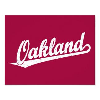 Oakland script logo in white distressed 4.25x5.5 paper invitation card