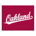 Oakland script logo in white distressed card