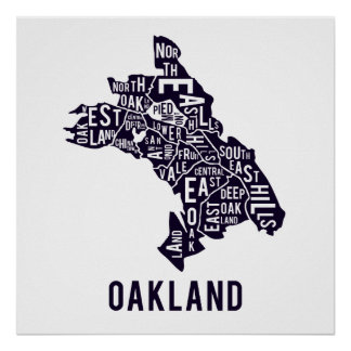 Oakland Typographic Map Poster