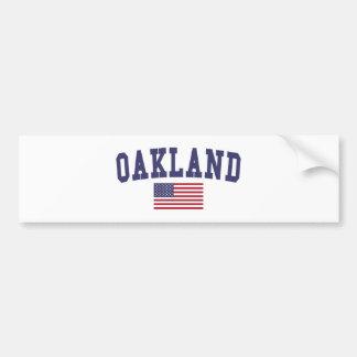 Oakland US Flag Bumper Sticker