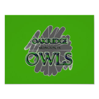 "Oakridge School Owls - Arlington, TX 4.25"" X 5.5"" Invitation Card"