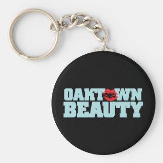 Oaktown Beauty Lite Blue Basic Round Button Keychain