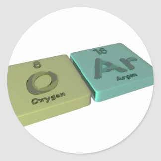 Oar as O Oxygen and Ar Argon Round Stickers