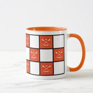 Oar inspiring orange squares rower's mug
