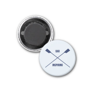 Oar inspiring pun and crossed oars 1 inch round magnet