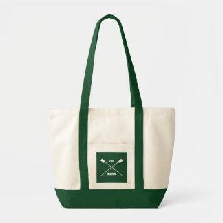 Oar inspiring slogan and crossed oars forest green tote bag