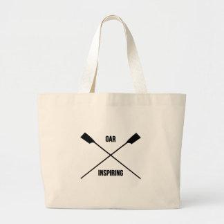 Oar inspiring slogan and crossed oars large tote bag