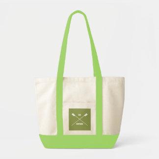 Oar inspiring slogan and crossed oars lime green tote bag
